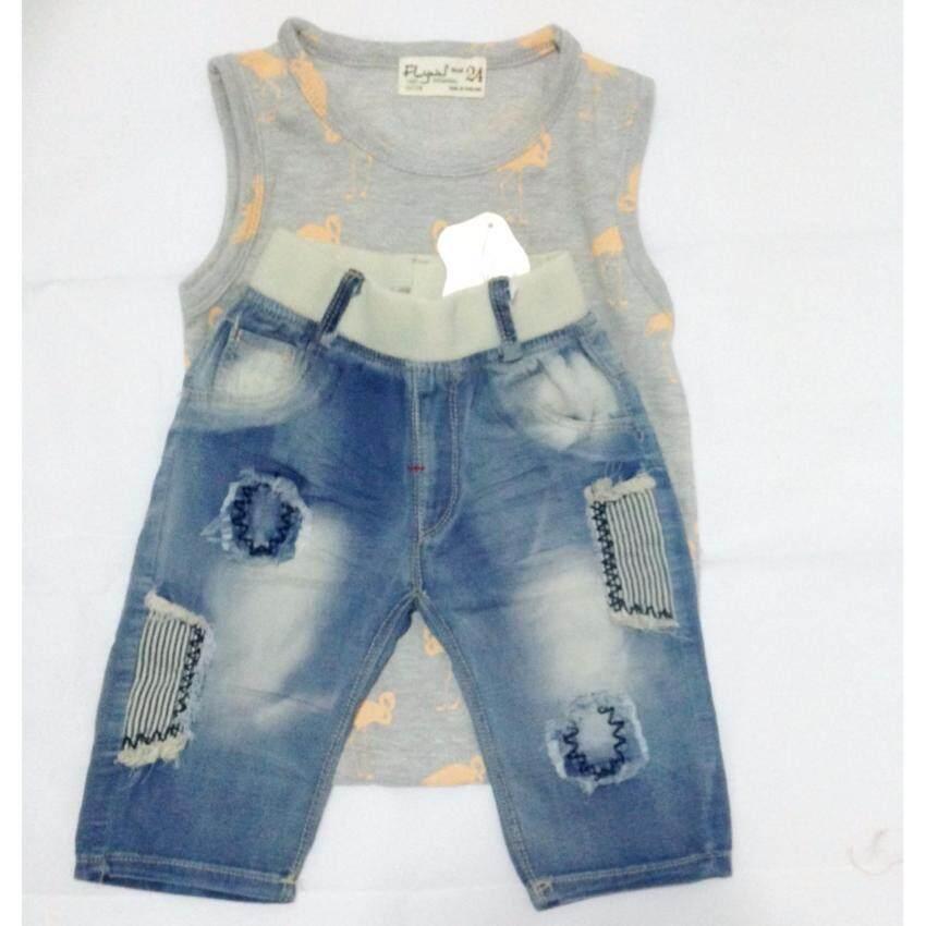 OEM ชุด C เสื้อกล้ามพิมพ์ลายนกกระยาง กางเกงยีนส์ขาสามส่วน เด็กชาย เด็กหญิง เอวยืดได้ 2-3 ...