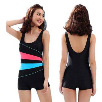 One Piece Swimsuit Women Swomwear Backless Monokini ProfessionalSlimming Bodysuit Bathing Suit-Black - intl