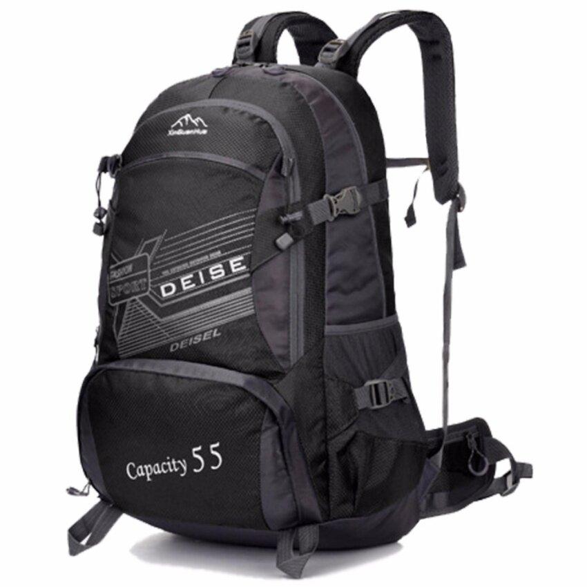 Otzi กระเป๋าเป้สะพายหลัง แบ็คแพ็ค เดินทาง ท่องเทียว กันน้ำ 55L ขนาดใหญ่ สีดำ