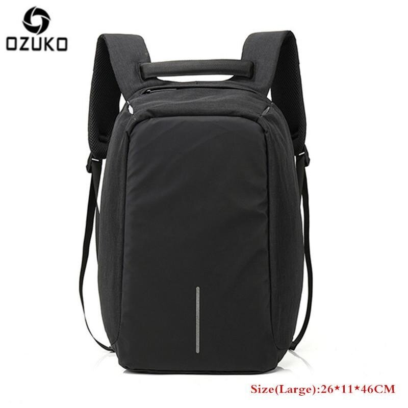OZUKO Waterproof Oxford Men's Business Backpack External USB Charging 15.6inch Laptop Backpack Multi-functional Casual Anti-theft Computer Travel Bag School Bag (Large-Black) - intl