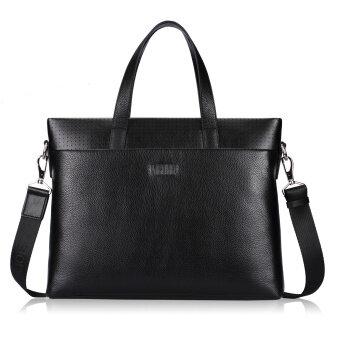 Pabojoe Genuine Leather Bag Man Shoulder Bag Tote Bag (Black) - intl