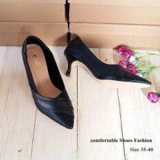 Passa shoes รองเท้าผู้หญิงแฟชั่น รองเท้าส้นสูง 1.5 นิ้ว รหัส Mil 7-31 (สีดำ)