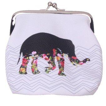 กระเป๋าสตางค์ลายการ์ตูนน่ารักสุดยอดเหรียญหญ้าคาตัวคล้องช้างกระเป๋านามบัตร (ขาว)