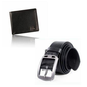 กระเป๋าสตางค์หนังธุรกิจคนพับครึ่ง และรัดเข็มขัดกางเกงปักชุดคลาสสิคสีดำ