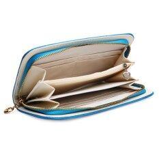 กระเป๋าสตางค์กระเป๋าถือสตรีหนัง Pu ยาวได้มีซิปกระเป๋าคลัตช์เลดี้หินน้ำเงิน ราคา 255 บาท(-52%)