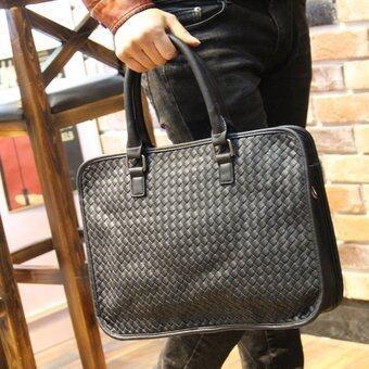 PU Leather Portable Woven Handbag Satchel Bag Leisure Shoulder Briefcase (Black) - intl( ...