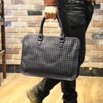 PU Leather Portable Woven Handbag Satchel Bag Leisure Shoulder Briefcase (Blue) - intl(. ...