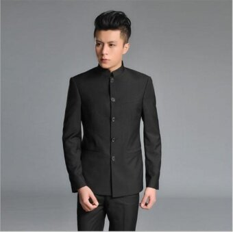 QQ Men's casual suit Chinese tunic suit Wedding Suit Black - intl