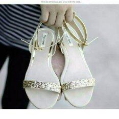 รองเท้าแตะส้นมุกรัดข้อ(สีทอง)