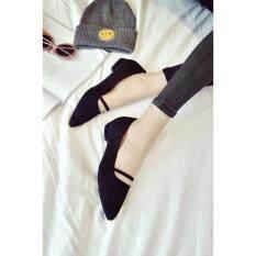 รองเท้าคัชชูส้นเตี้ยหนังกำมะหยี่(สีดำ)