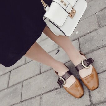Retro With The Mary Jane Shoes Word Buckle With A Single Shoes Female Spring Belt Buckle Shallow Mouth Square Shoes(Khaki) - intl