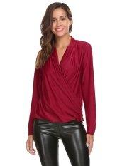 Sales Lady Casual Deep Crossing V-Neck Long Sleeve Zipper Decor Sexy Blouse T-Shirt Tops Sunwonder - Intl ราคา 532 บาท(-50%)