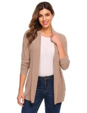 Sales Womens Shawl Collar Open Front Solid Casual Ribbed Knit Sweater Cardigan (camel) - Intl ราคา 491 บาท(-65%)