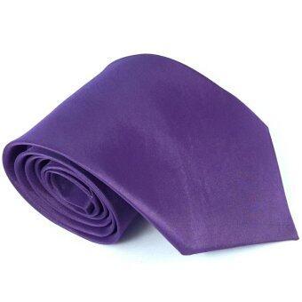 SILK TIES เนคไท ผ้าไหม100% สีพื้น (สีม่วง) purple