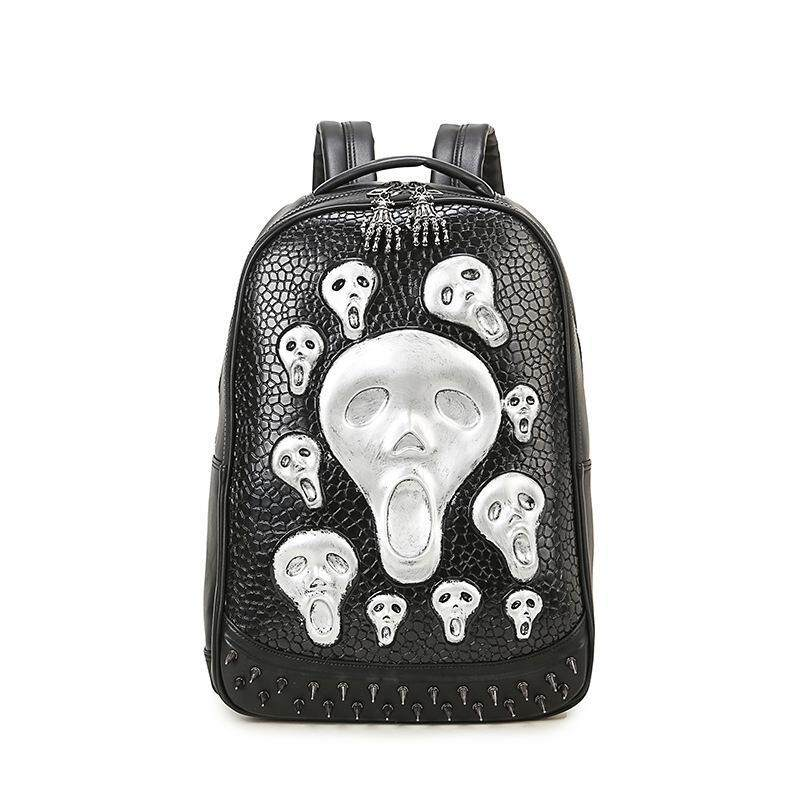 Skull backpack women cool ghost backpacks men high quality PU leather shoulder school bags laptop back bag for girls mochila - intl
