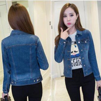 Spring and Summer Women and Girls Long Sleeved All-match Slim Short Denim Jacket 3327 - intl
