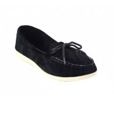 Squareladies รองเท้าส้นแบนกำมะหยี่แต่งเชือก No.462 (สีดำ)