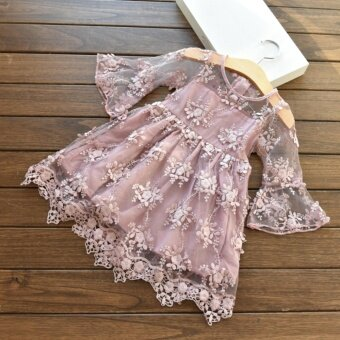 Summer Girl Dresses Lace Flower Dress Baby Girl For Party AndWedding Party Clothes - intl