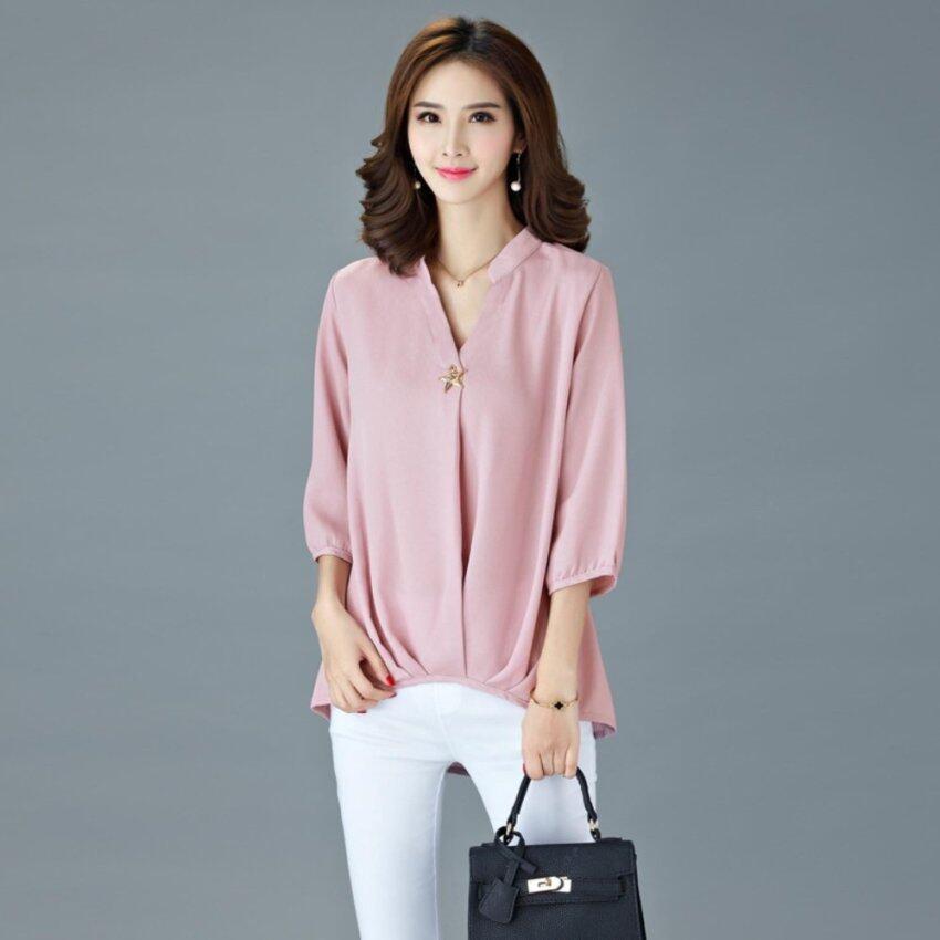 Summer Popular Fashion Plus Size Chiffon Shirt - Pink - intl. >>>>