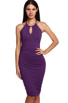 Sunweb FINEJO Women Casual Party Sleeveless Halter Sexy Slim Backless Dress (Purple)