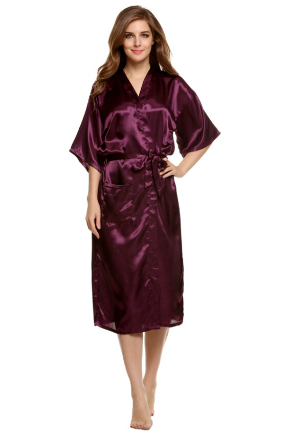 Sunweb Sexy Woman Silk Strappy Sleepwear Long Bath Robes Night Gown Pajamas ...