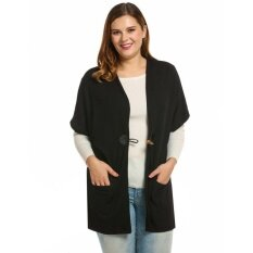 Supercart Best Women Faux Cashmere Short Sleeve Collarless Solid Loose Cardigan ( Black ) - Intl ราคา 454 บาท(-67%)