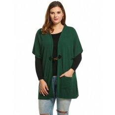 Supercart Best Women Faux Cashmere Short Sleeve Collarless Solid Loose Cardigan ( Deep Green ) - Intl ราคา 462 บาท(-67%)