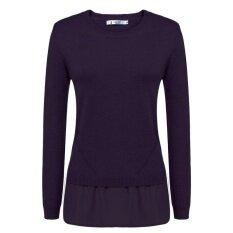 Supercart Best Women O-Neck Long Sleeve Chiffon Hem Pullover Sweater ( Purple ) - Intl ราคา 594 บาท(-67%)