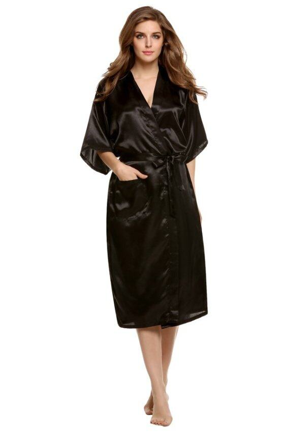 Supercart Sexy Woman Silk Strappy Sleepwear Long Bath Robes Night Gown Pajamas ( Black ) ...