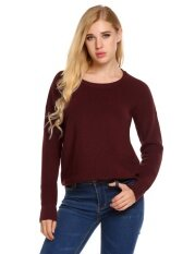 Top Sale Women Long Sleeve Knitting Sweater Solid Loose Pullover Knitted (chili Red) - Intl ราคา 524 บาท(-61%)