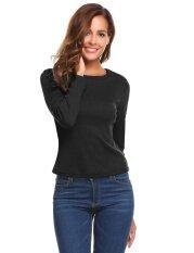 Top Sales Astar Women O-Neck Long Sleeve Zipper Slim Fit Ribbed Knitted T-Shirt Tops(black) - Intl ราคา 392 บาท(-50%)