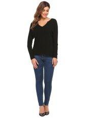 Top Sales Astar Women V-Neck Long Sleeve Solid Asymmetrical Hem Back Split Knit Sexy Blouse T-Shirt Tops(black) - Intl ราคา 540 บาท(-50%)