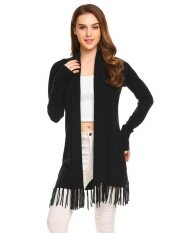 Top Sales Astar Womens Long Sleeve Open Front Solid Thin Knit Tassel Long Sweater Cardigan(black) - Intl ราคา 565 บาท(-50%)