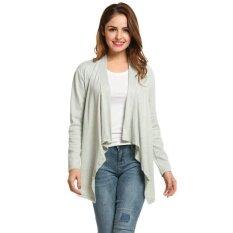 Toprank New Women Casual Collarless Long Sleeve Solid Asymmetrical Hem Cardigan Coat ( Grey ) - Intl ราคา 474 บาท(-67%)