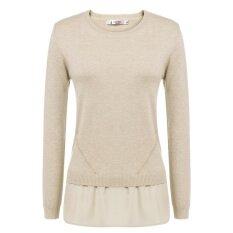 Toprank Women Casual Round Neck Long Sleeve Chiffon Hem Pullover Sweater ( Apricot ) - Intl ราคา 614 บาท(-67%)