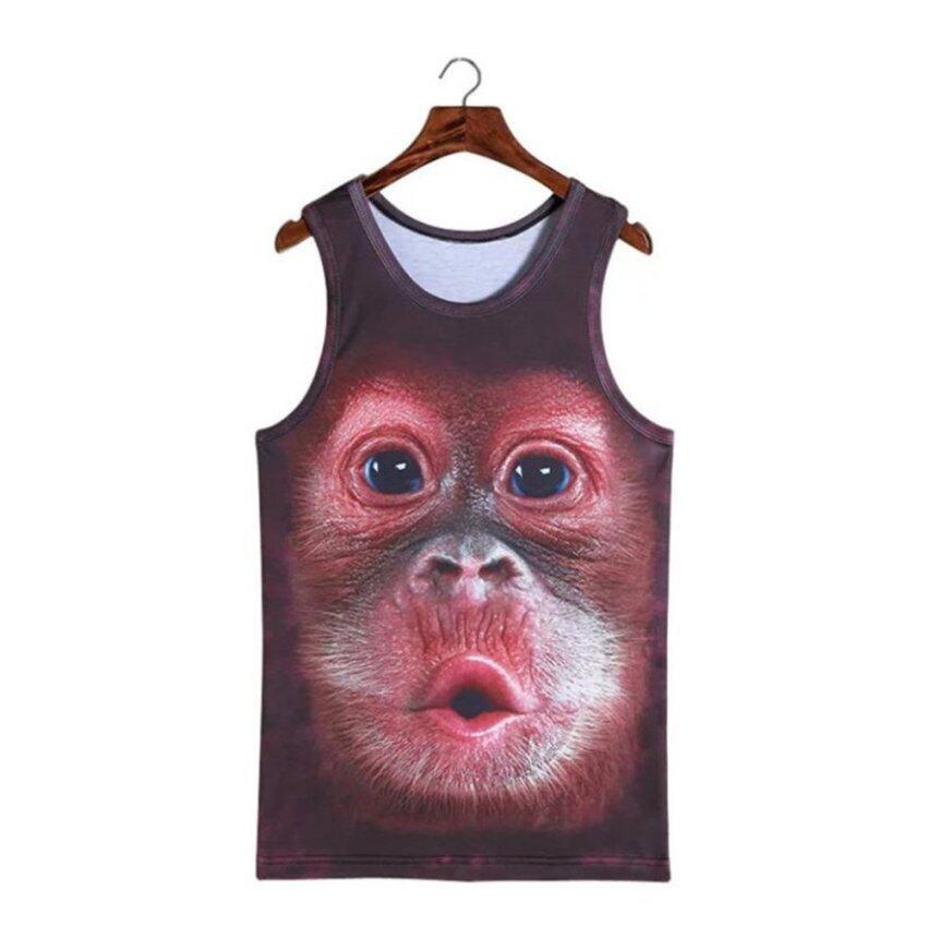 UINN Lovely Pout Stereoscopic 3D Monkey Print Vest T-shirt Sleeveless Men Top - intl