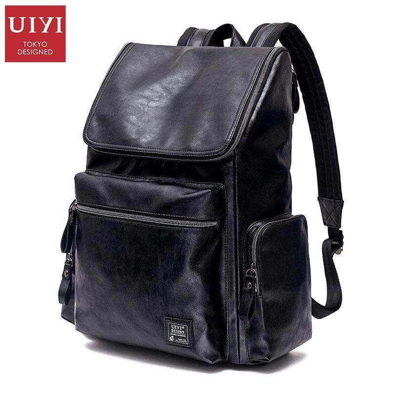 UIYI PU Men Backpack Bag Casual Large Capacity Black Bagpack School Bag Teenager Backpac ...
