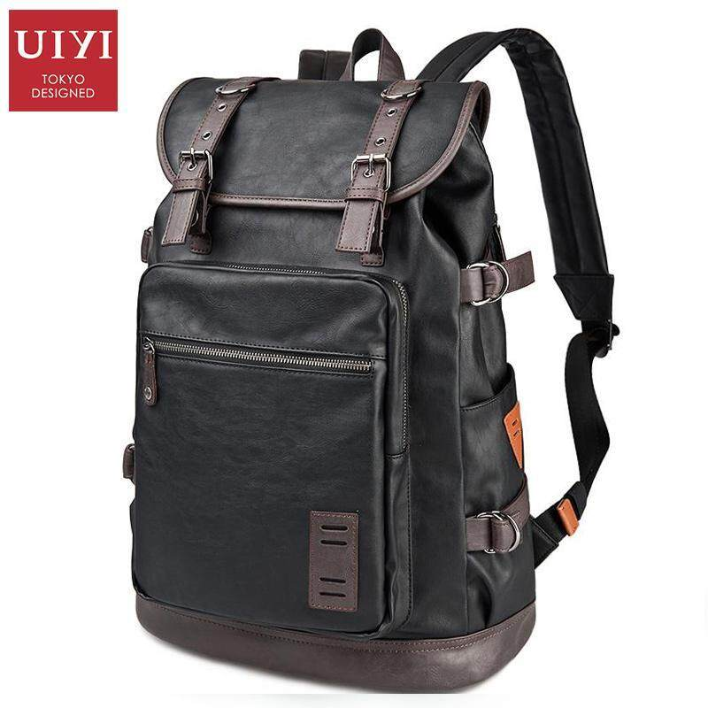 UIYI PU Men Travel Bag Casual Style Designer Backpacks Men High Capacity Student Backpac ...