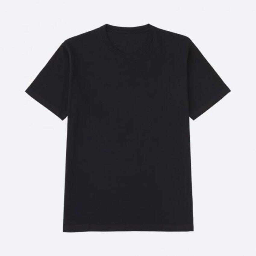๊์UNIQLO MEN เสื้อยืดคอกลมแขนสั้นสีพื้น ดำ ขนาด Size L ...
