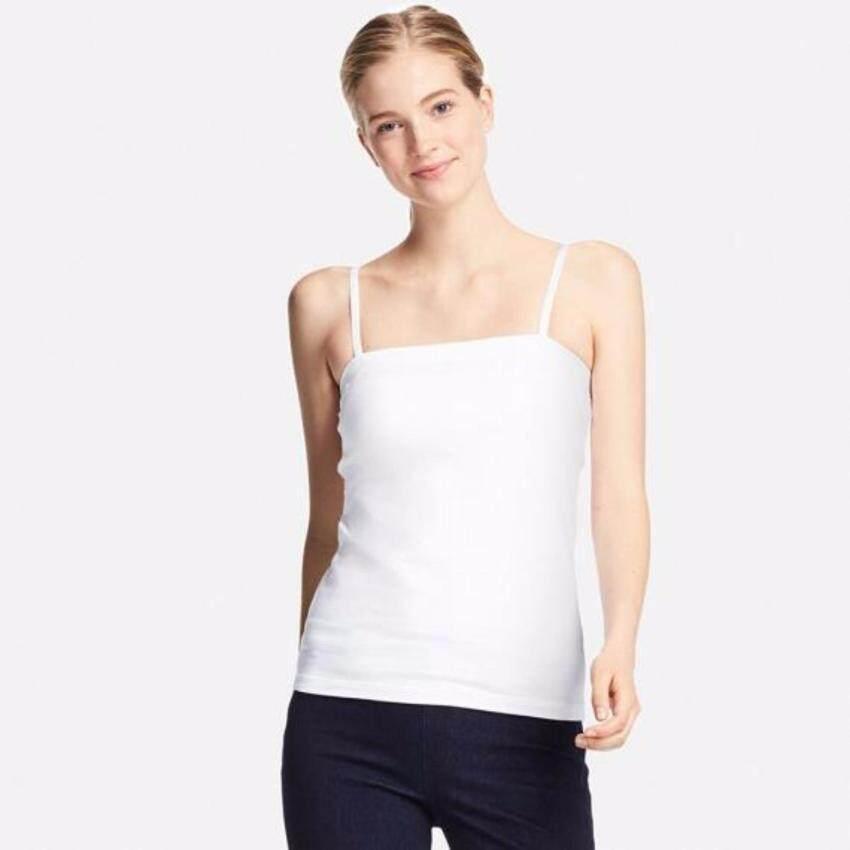 UNIQLO WOMEN เสื้อเกาะอกผ้าซูพีมาคอตตอนมีบรา สีขาว ...