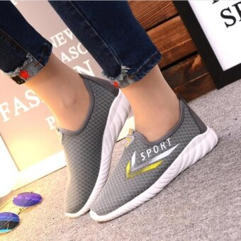 UR Breathable flat bottom casual shoes Grey - intl