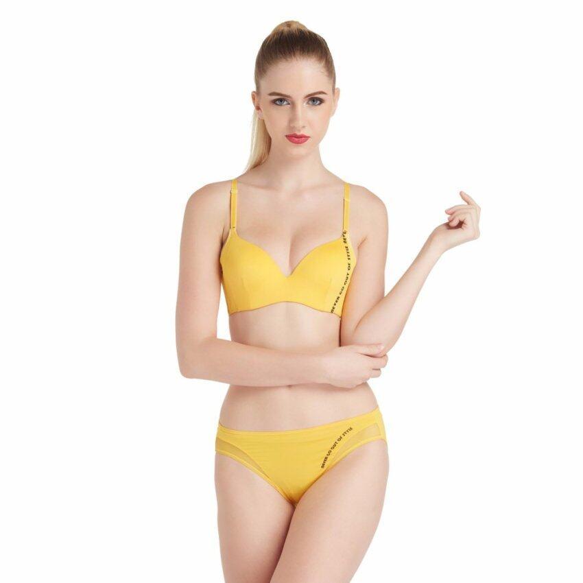 Wacoal Mood Moving bra เซ็ทชุดชั้นในกางเกงชั้นใน บราเสริมฟองน้ำ 3/4 Cup (สีเหลือง/YELLOW) - MM1H17YE-MM6X59YE