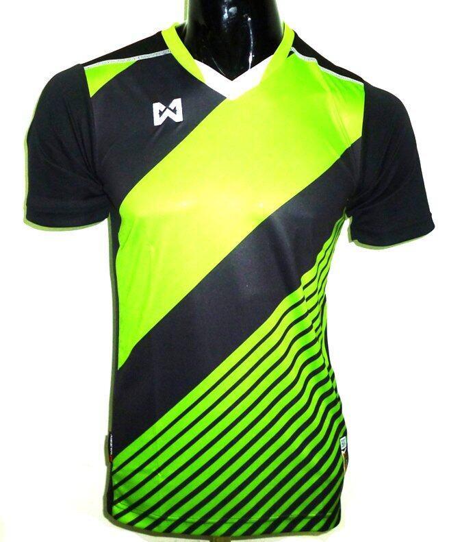 WARRIX SPORT เสื้อฟุตบอลพิมพ์ลาย WA-1523 ( สีดำ-เขียว )