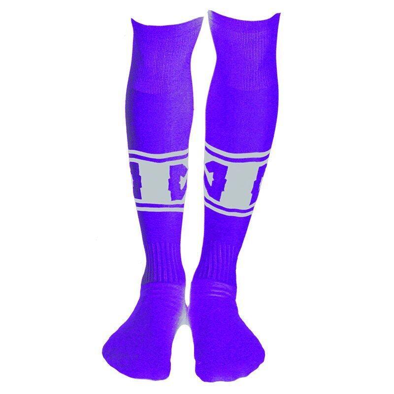 WARRIX SPORT ถุงเท้าฟุตบอลไนล่อน WC-1502 ( สีม่วง-ขาว )