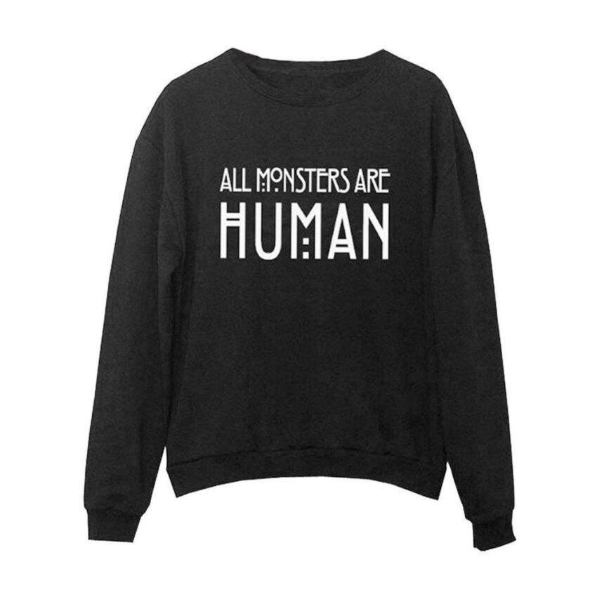 Winter Long Sleeve Pullover Hoodie Sweatshirt Coat (Black) - intl ...