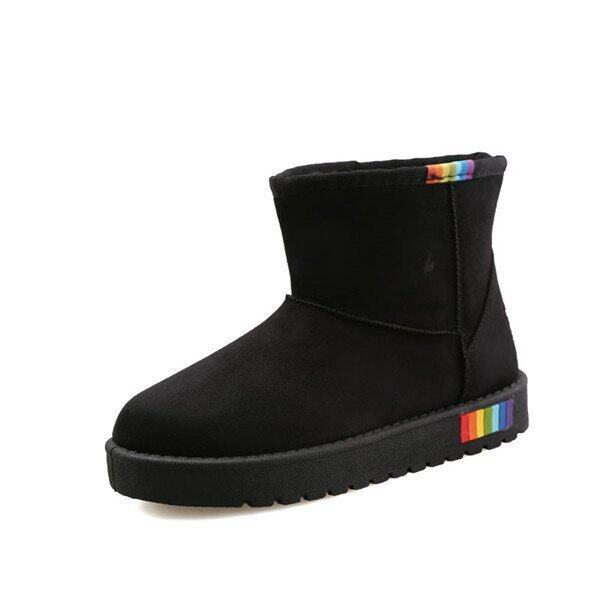 Winter new warm Solid color Boots women fashion snow boot women(Black) - intl ...
