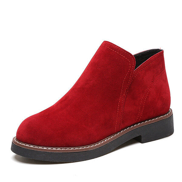 Winter warm suede leather boots women 2016 fashion dress boots women (Red) - intl