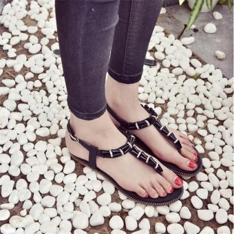 Women Bohemia Ankle Strap Sandals Metal Chain Flat Flip Flops Casual Beach Shoes - intl