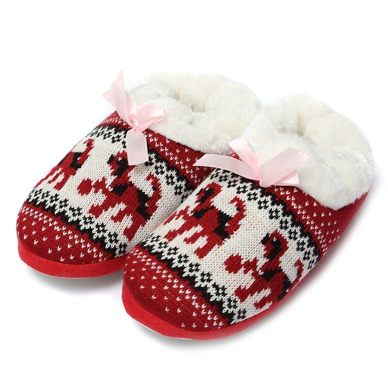 Women Comfort Warm Soft Indoor Outdoor Home Slippers Shoes Puppy Snowflake Heart Red - i ...