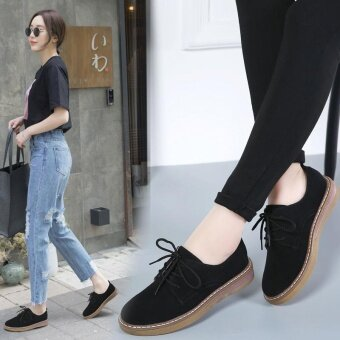 Women Lace up Casual Brogue Shoes PU leather Women Flat Shoes forLady Women Oxford Leisure Women Shoes(black) - intl